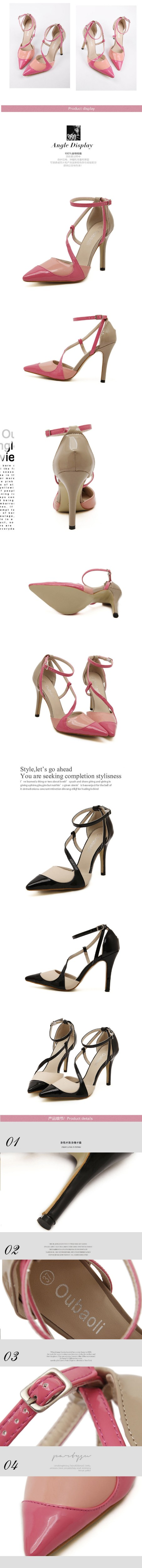 2016 New Ankle Strap Thin High Heels Women Pumps Sexy Pointed Toe Buckle Party Shoes New Ladies Stiletto Shoes Black Pink ZX2.5