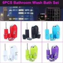 New arrive 6Pcs/set Bathroom Accessory Set Bin Soap Dish Dispenser Tumbler Toothbrush Holder(China (Mainland))
