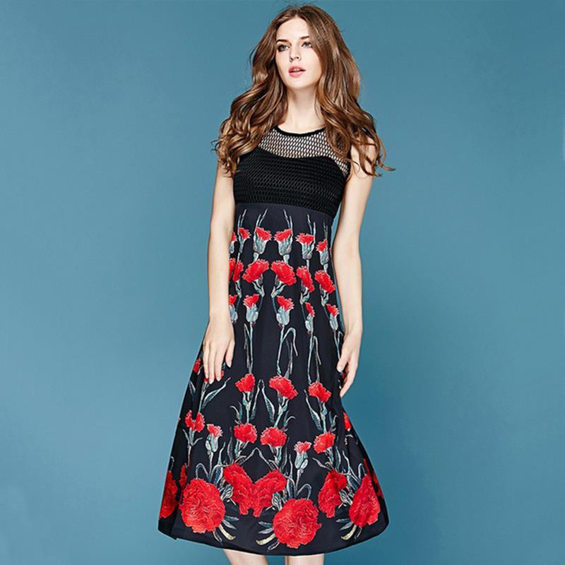 Atrovirens Hem Novelty Dress  2016 Summer Spring Fashion Runway New Brand Black  Spliced Carnation Printed Paid Dreess Одежда и ак�е��уары<br><br><br>Aliexpress