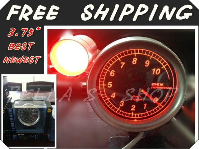 "free shipping brand new piv0t 3.75"" RED LED rpm /tachometer  racing gauge  with shift light original box"