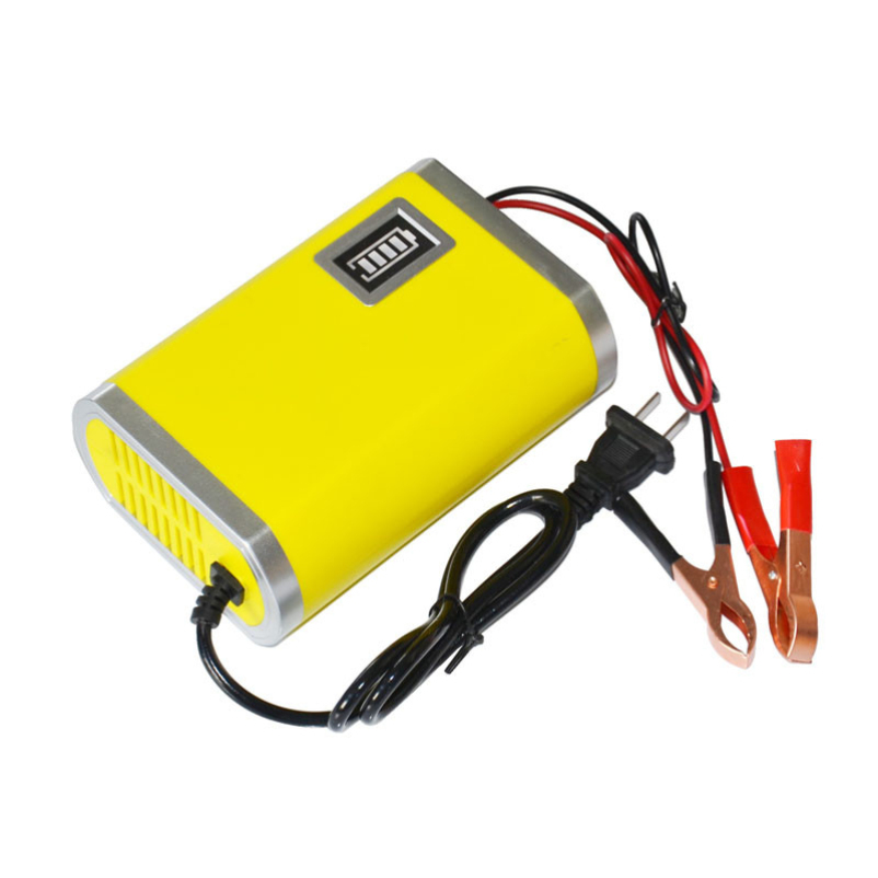 Hot selling Motorcycle Car Auto 12V 6A Battery Charger Intelligent Charging Machine Yellow(China (Mainland))
