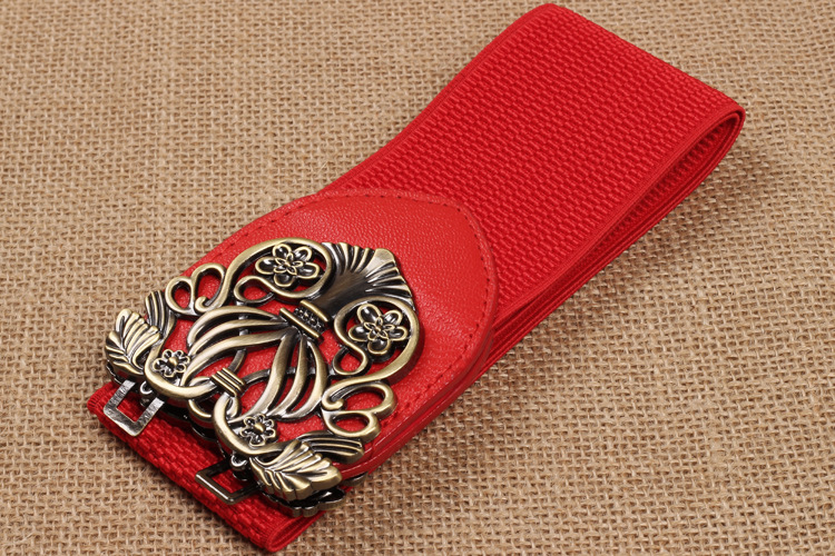 Women Elastic Waist Belt Retro Palace Carved Waist Closure Female Skirt Decorative Belt Slim Waist Elastic Crony Satijnen Band