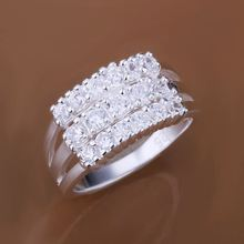 2014 Hot sell Chrismas gift Wholesale silver plated ring fashion jewelry,Three Rows Stone ring SMTR143(China (Mainland))