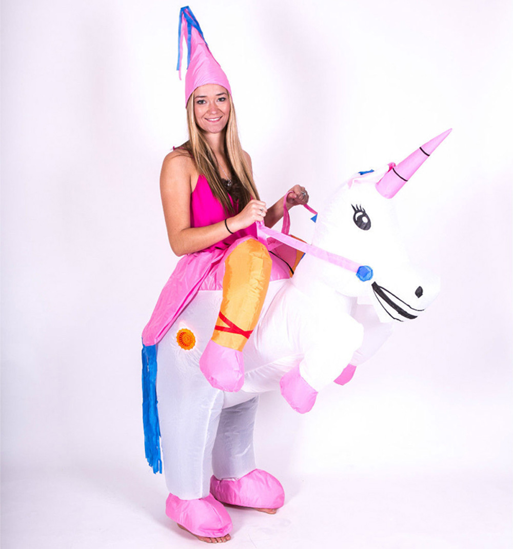 Adults Kids Halloween costume Inflatable Unicorn Dinosaur Costume for Woman Airblown Inflatable T rex Party Princess Dress(China (Mainland))