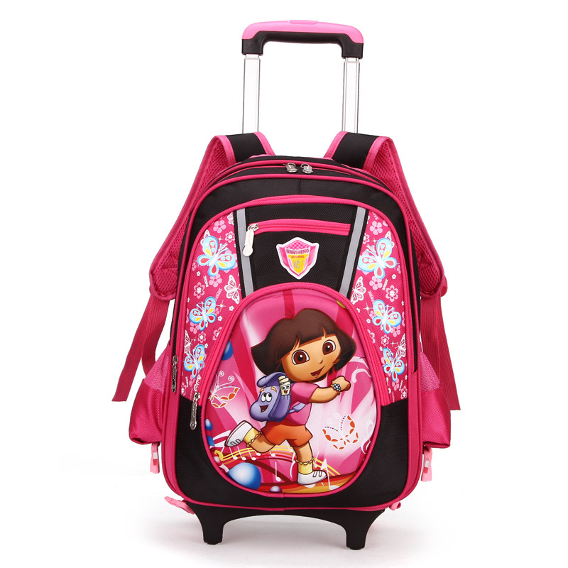 new 3D Children kids bags school Orthopedic backpacks to school Removable cartable carton kids Trolley school bags high quality(China (Mainland))