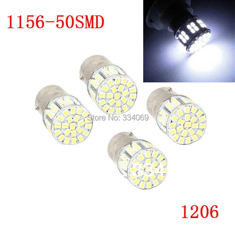 4 Pcs/lot 1156 50SMD 1206 White Micro Dome Index Universal Vehicle Auto SUV Car LED Lamp Bulbs Wedge White Light Headlight DC12V(China (Mainland))