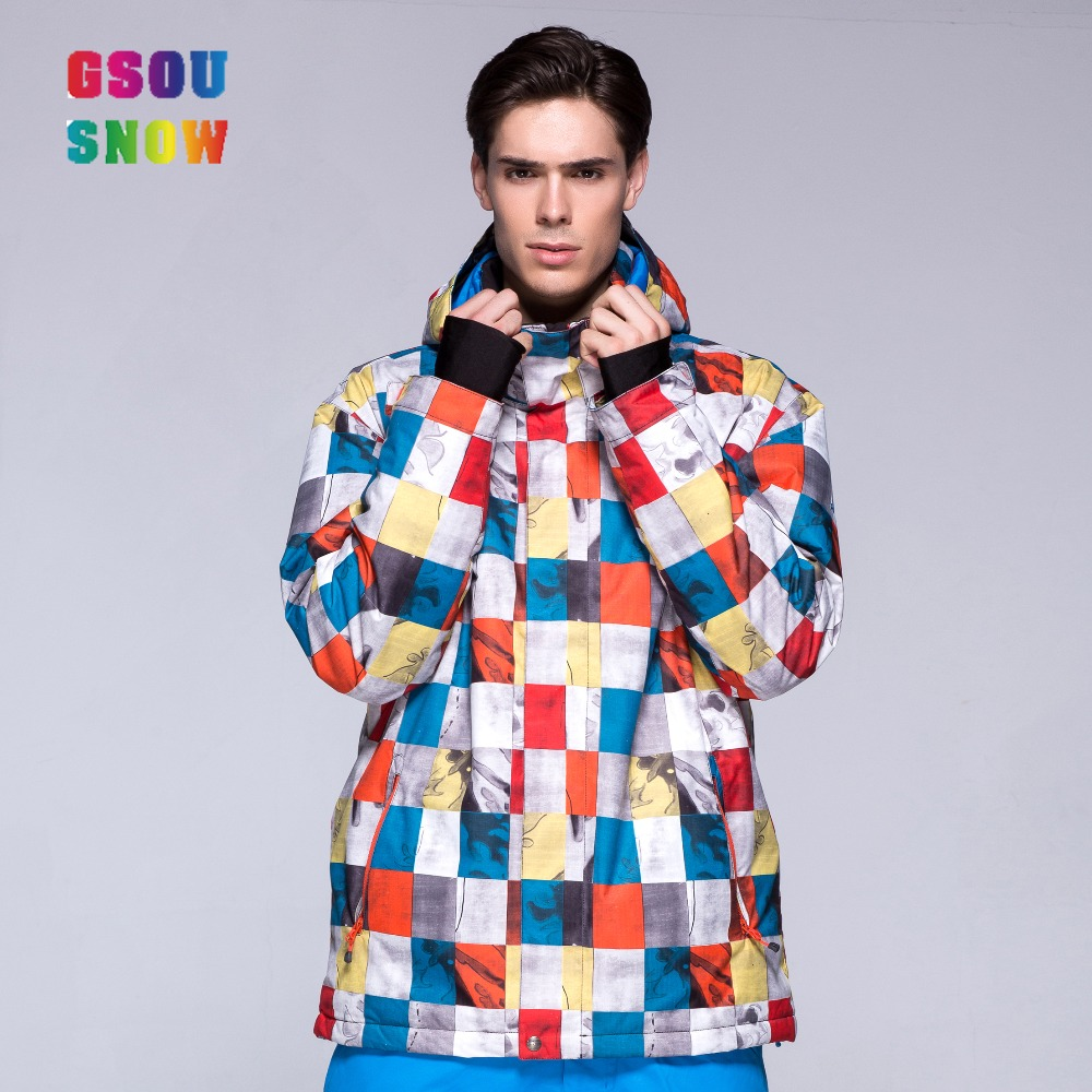 2016 GSOU SNOW colourful camouflage red white bright colored ski jackets men brands waterproof breathable windproof freeshipping(China (Mainland))