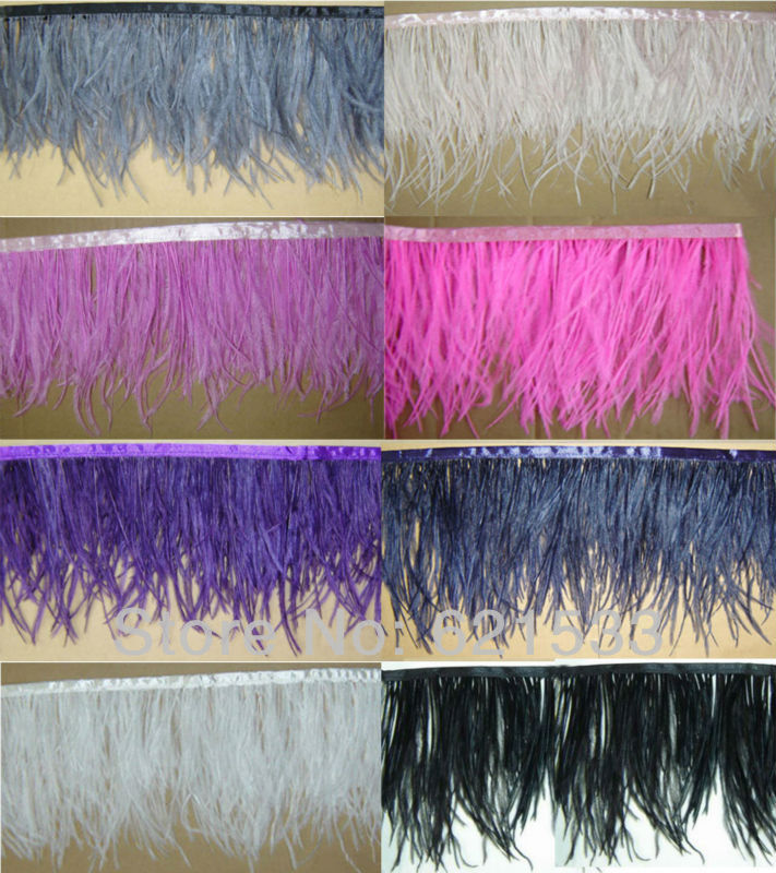 "2Meters/Lot Height 4-6"" Natural Ostrich Feather fringe Ostrich feather Trimming on Satin Header 8Colours Available freeshipping(China (Mainland))"