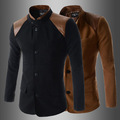 New pattern Mandarin Stand Collar Good Quality Shoulder PU Leather Spliced Patchwork Slim Mens Suit Blazer