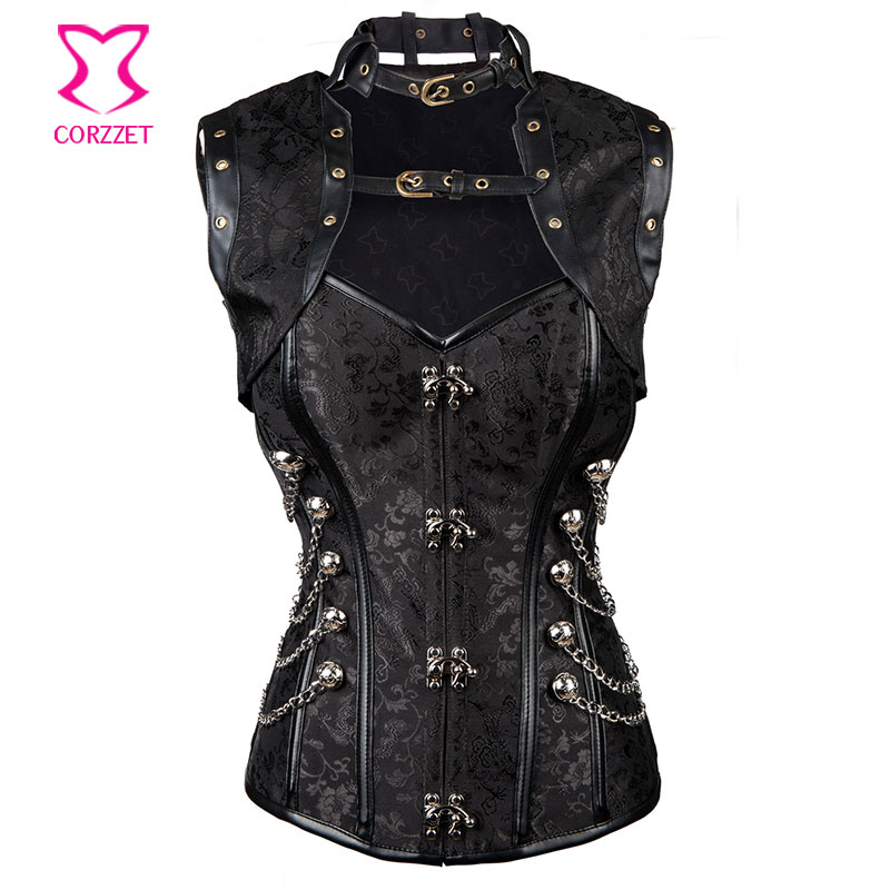 Punk Black Waist Training Corsets Steel Boned Overbust Corset Plus size Espartilhos E Corpetes With Jacket Sexy Gothic Clothing Одежда и ак�е��уары<br><br><br>Aliexpress