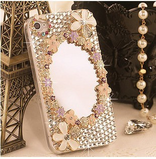Mirror shell cover for iphone 4 case for iPhone 4s case diamond bling cell  protection sleeve shell phone sets free dropshipping