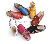 Top qiality   kids sandals Genuine leather children shoes sandalias cutout sandals kids(China (Mainland))