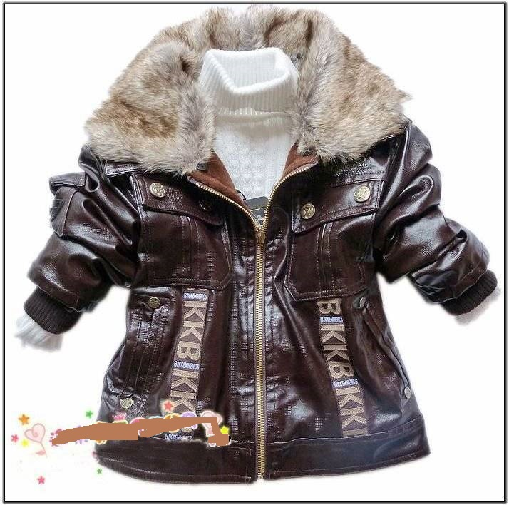 Retail baby boys leather jacket kids thick fleece fur collar winter coat children clothing free shipping,2 color choices.(China (Mainland))