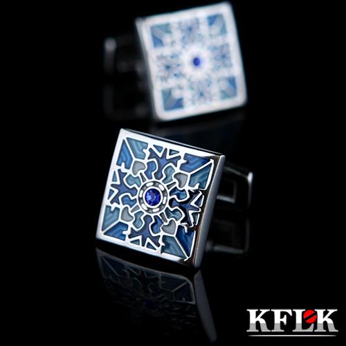 KFLK Luxury shirt cuff link for men's Gift Brand cuff buttons Blue enamel cufflinks male High Quality abotoaduras Jewelry(China (Mainland))