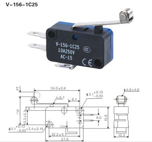 Fine Switches V-156-1C25 with Long Wheel Micro Switch Limit Switch Silver Point Small Switches