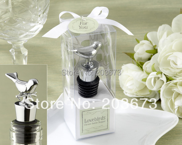 Free Shipping Stainless Steel Love Bird Wine Bottle Stopper Wedding Favors Gifts 10Pcs(China (Mainland))
