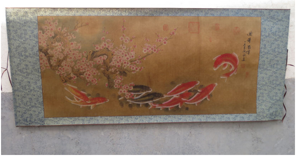 "FREE SHIPPING Chinese calligraphy famous scroll painting ""flower and fish"" Figure 167*70CM(China (Mainland))"