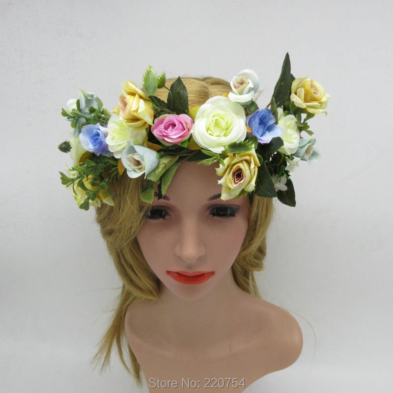 2016 New Wedding Rose Flower Wreath headdress Kids Woman Party berry Floral crown halo with ribbons