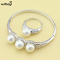 Fashion 925 Silver Overlay For Women Imitation Pearl Jewelry Set White Crystal Bracelets Rings