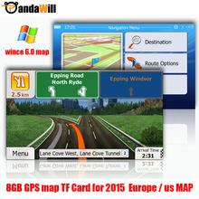 GPS accessories 8G gps maps sd card 2015 latest Map for WinCE car gps navigation map Europe/Russia/USA/CA/AU/Israel Car gps map(China (Mainland))