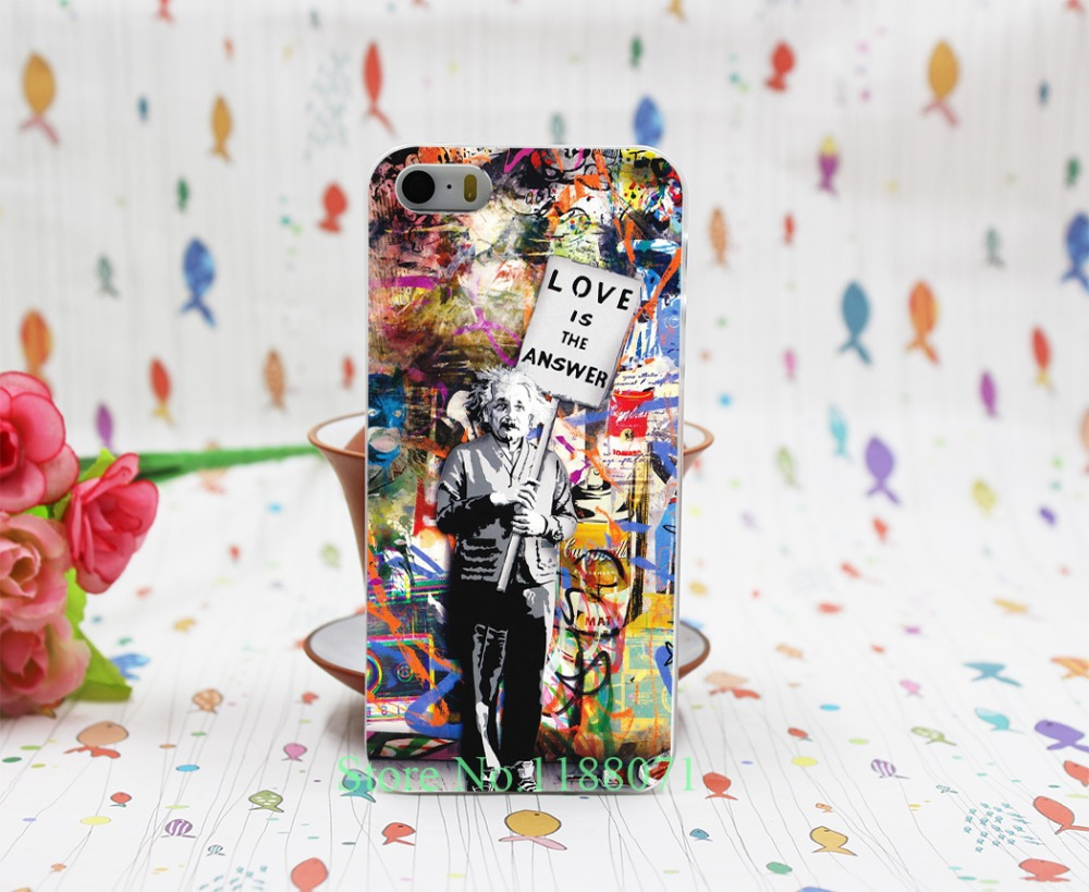 Banksy Albert Einstein Love Is The Answer Design Transparent Hard Clear Cover Case for iPhone 5 5s 5g(China (Mainland))