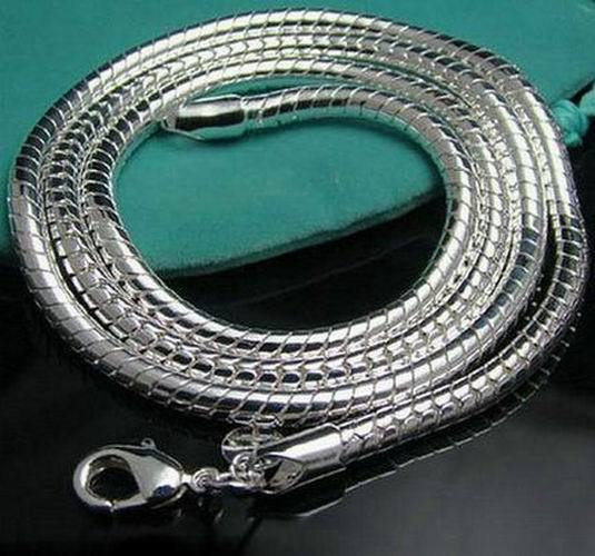 wholesale fashion jewelry 925 sterling silver jewelry necklace 3mm snake chain length 16,18,20,22,24 inches men jewelry N285(China (Mainland))