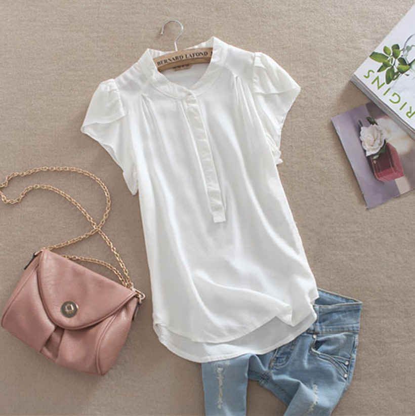 High quality women tops fashion 2015 female body Silk cotton fabric elegant short-sleeve summer sheer vintage white blouse shirt