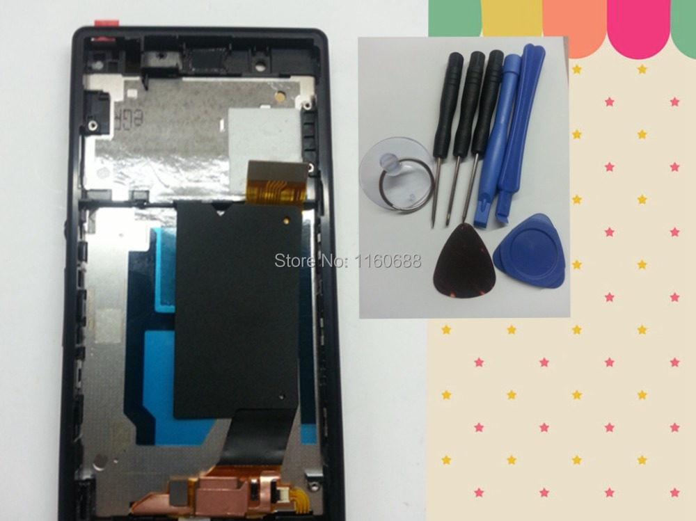 New lcd display+touch digitizer glass screen+frame assembly for sony xperia z l36h c6603 c6602 c6606 black color free shipping
