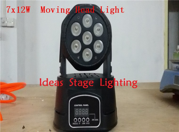 Fast Shipping LED moving head mini wash 7x12w rgbw quad with advanced 7/12 channels(China (Mainland))