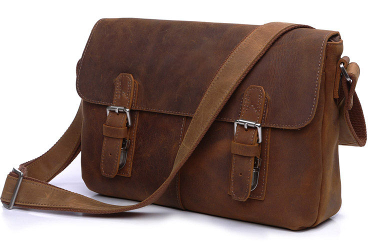Vintage 100% Guaranteed Crazy Horse Genuine Leather Bag Men Messenger Bags Brown Cowhide Shoulder Bags Crossbody Mens Bag J6002B(China (Mainland))