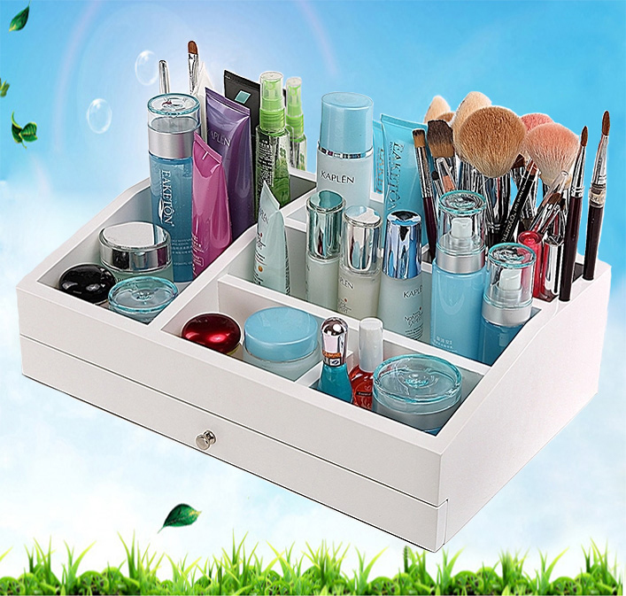 Creative Europe wooden large cosmetic storage box & rack with drawer dressing table skin care products & Jewelry storage box(China (Mainland))