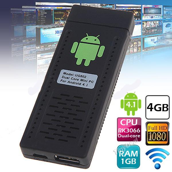 UG802 Android 4.1 TV Box Cortex A9 Mini PC Dual Core 1GB RAM/ 4GB NAND Flash HDMI TV Dongle IPTV w/ Wi-Fi - Black