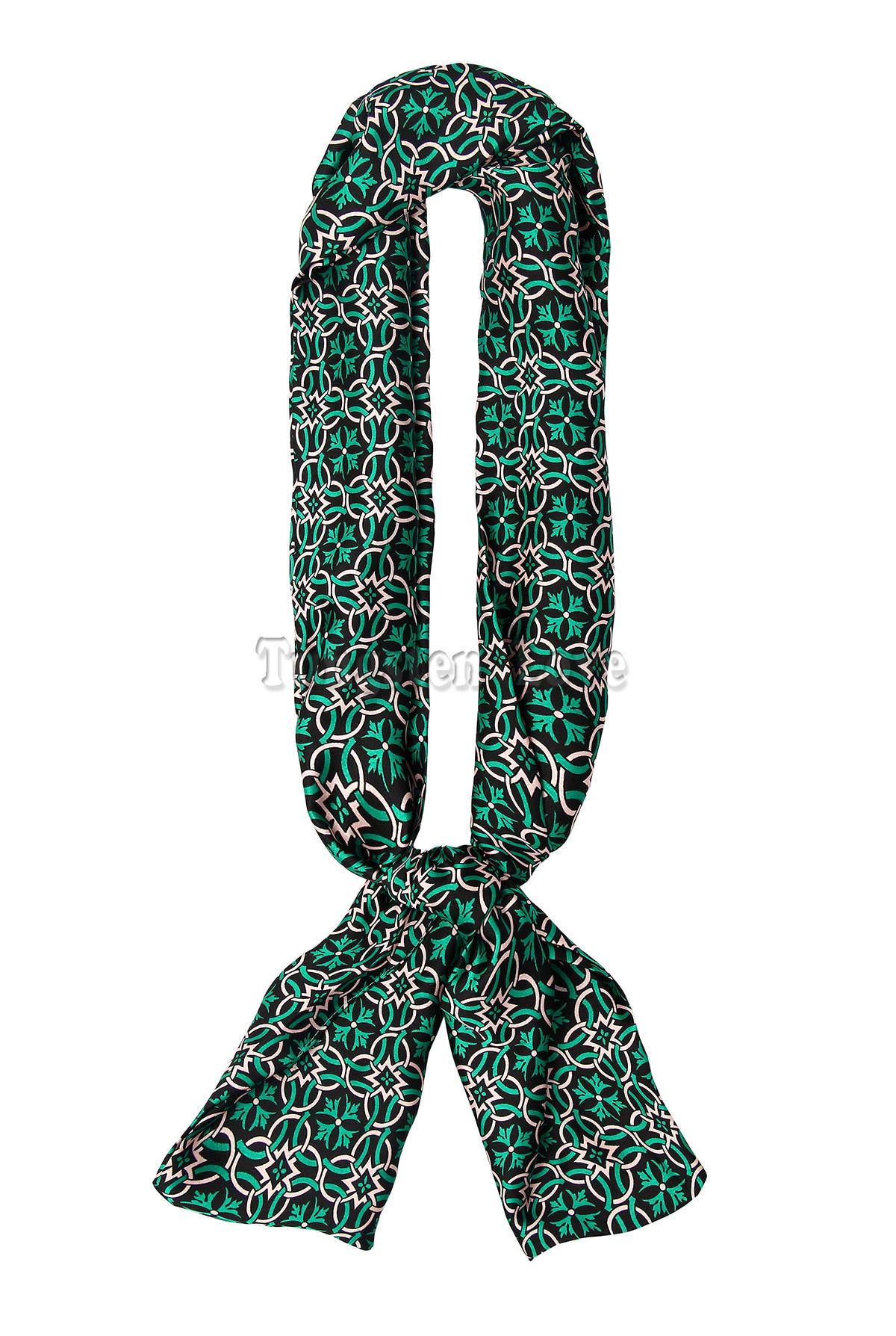 Vintage Fashion Acrylic Flower Pattern Solid Scarf Shawl for Women Color Green 150*26 cm(China (Mainland))