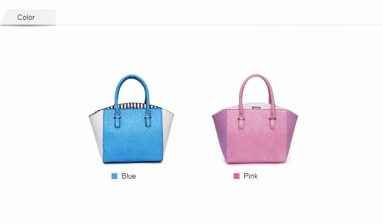 Ladies Ostrich Grain Leather Handbag Fresh Style Designer PU Tote Bag White Blue Color-matching Women Stylish Shoulder Bag