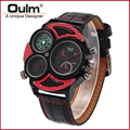 2016 Oulm Brand HP3594 2 Mens Watch Multiple Time Zone Wristwatches