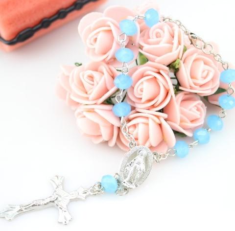 Catholic Gift Jewelry Blue Crystal Rosary Cross Rosary Bracelets Wholesale 10pcs/lot(China (Mainland))