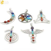 CSJA Chakras Natural Stone Pendant Angel Wings Health Amulet Fashion 7 Reiki Yoga Jewelry Necklace Pendants Boy Girl Gifts E015(China (Mainland))