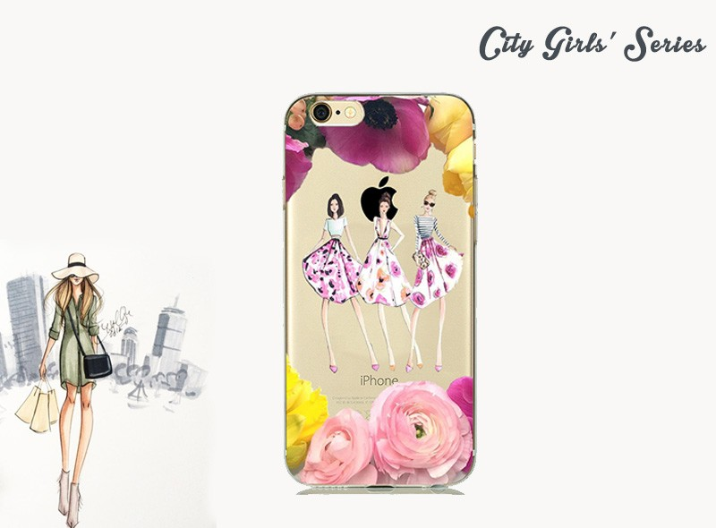 Pretty Girl With Fashion Luxury Dress Skirt Phone Case for capinhas iPhone 7 7plus iphone7 5 5s SE 6 6s Soft TPU Silicone Covers