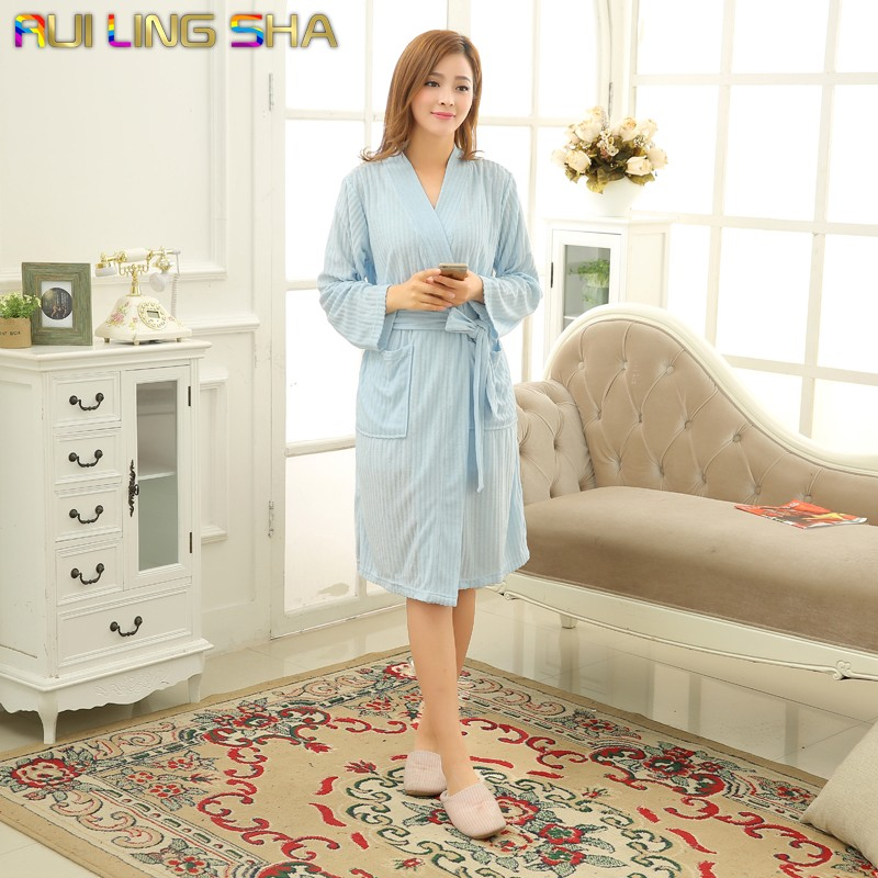 hot sky blue robes badjas women women solid color long. Black Bedroom Furniture Sets. Home Design Ideas