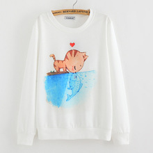 2015 New spring Hoody women Casual hoodies cat kiss fish print fleece inside long sleeve o neck letters sweatshirt for women Top(China (Mainland))