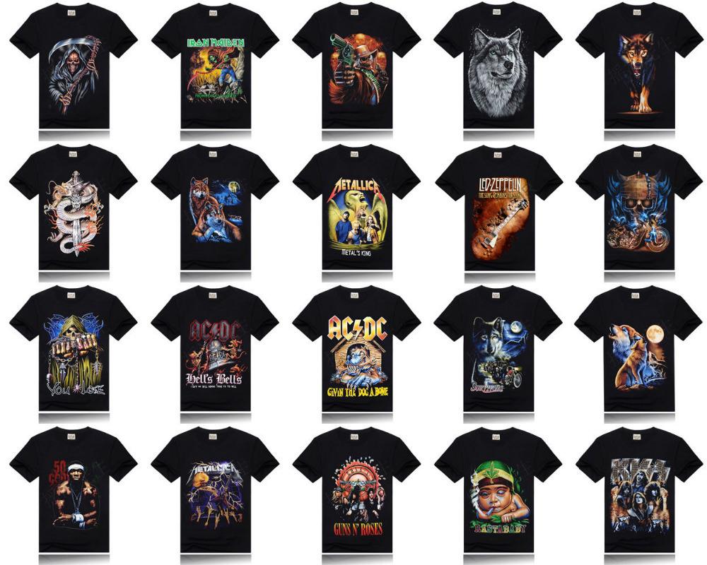 Shirt design fonts - 2014 New Mens Digital 3d Printed Shorts Sleeve Cotton T Shirts Skull Animal Printing Tee T