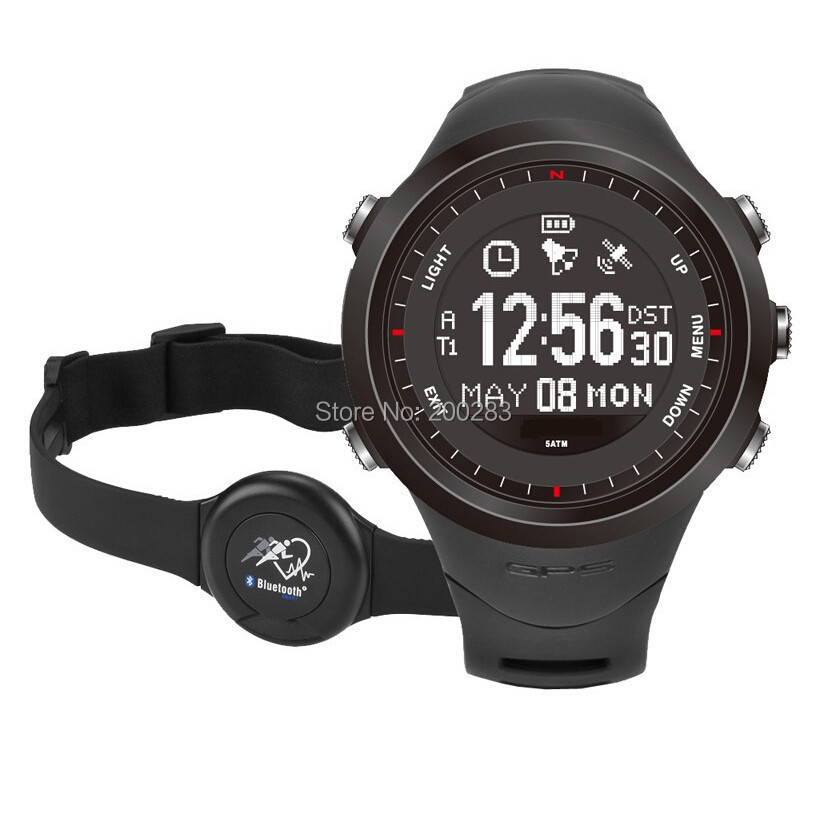 NEW Gps Watch Outdoors sports with Heart Rate Monitor Led Digital GPS watch Compass Altimeter Barometer Pedometer Military(China (Mainland))