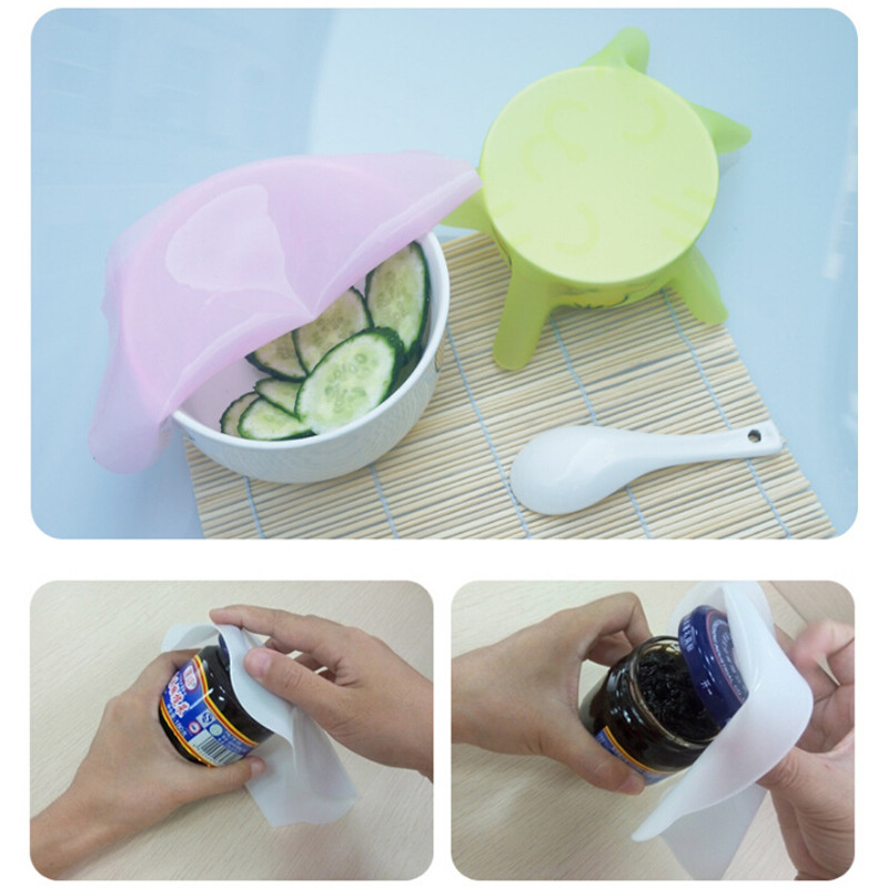 2pcs/pack Cartoon Silicone Mat Lid Bowl Reusable Cover Food Seal Container Refrigerator Preservative Film Cook Kitchen ZQ674576(China (Mainland))