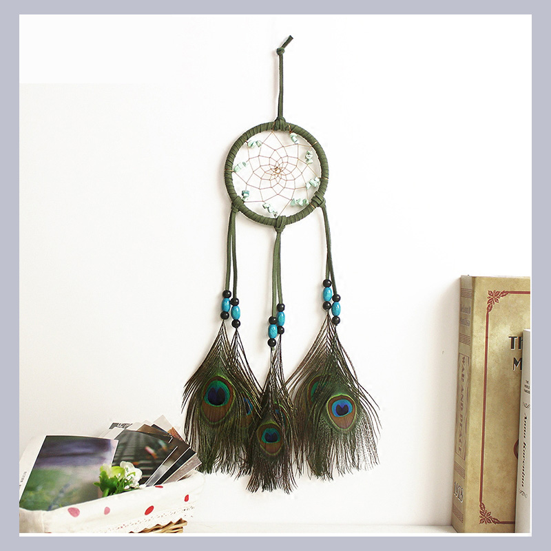 Decorative Catcher Dream Indian Feather Charm Wicker Balls Supplies Peacock Crafts Green