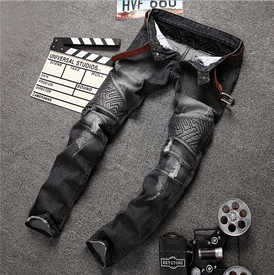 Robin jeans men 2015 knee crushed embroidery locomotive hole grey mens jeans Europe United States skinny jeans size 30-38 #197(China (Mainland))