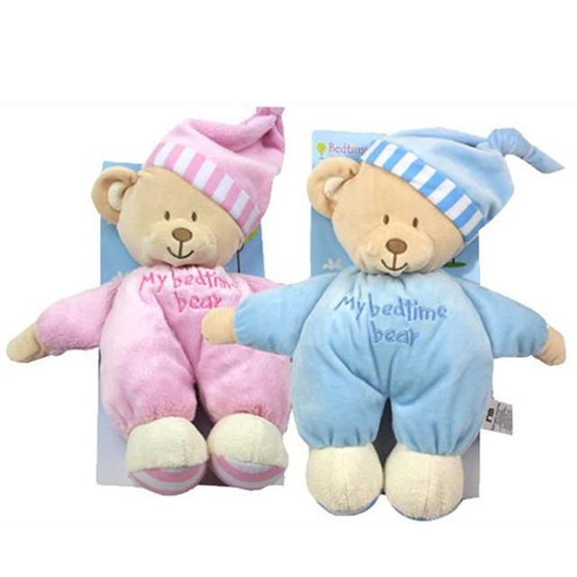 2016 НОВЫЙ Спящего Медведя с Бирками и CE 32 СМ Длина Симпатичные Lovely Baby, Мягкие Игрушки Синий Розовый Плюшевые для Детей Мягкие Куклы HT3076