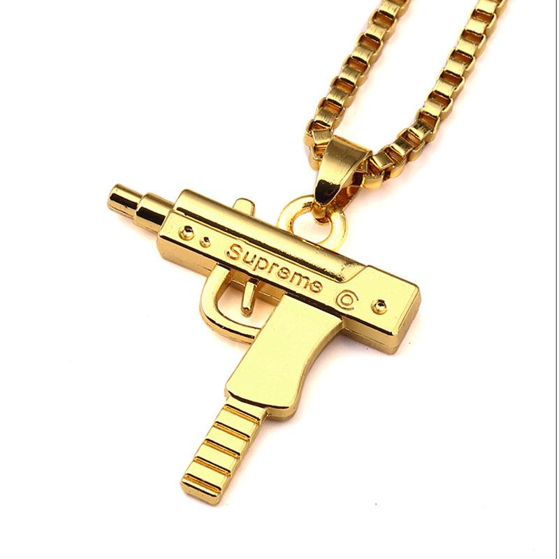 JFY Uzi Gun Necklace GOLD CHAIN For Men/Women Hip Hop NECKLACE 18k Gold Plated Submachine Gun Fashion JEWELRY Pistol Pendant(China (Mainland))