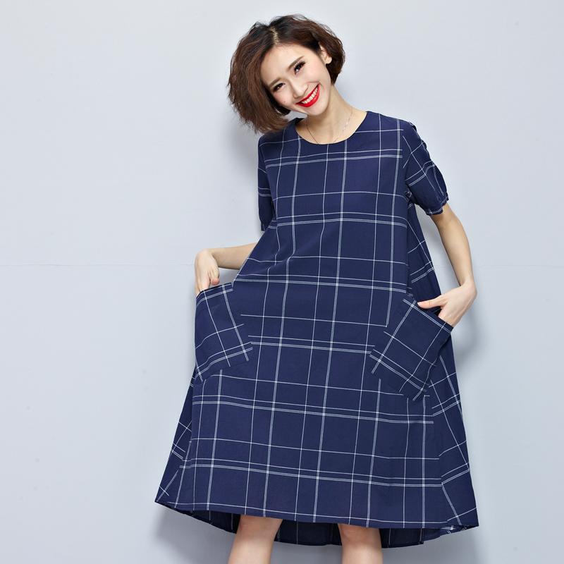 Summer clothing stores Fashion Korean Style Women Short sleeve Casual Long Dress Vintage cotton linen Loose Maxi Dress Plus Size(China (Mainland))