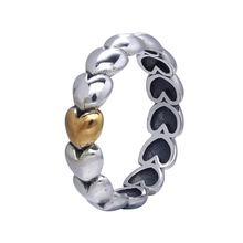 Original 100% 925 Sterling Silver Ring European Gold Plate Love Hearts Original Rings Jewelry For Women(China (Mainland))