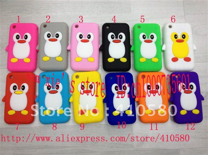 Soft silicone case for iphone 3 3G,Penguin silicone case,12 colors,wholesale 200pcs/lot(China (Mainland))